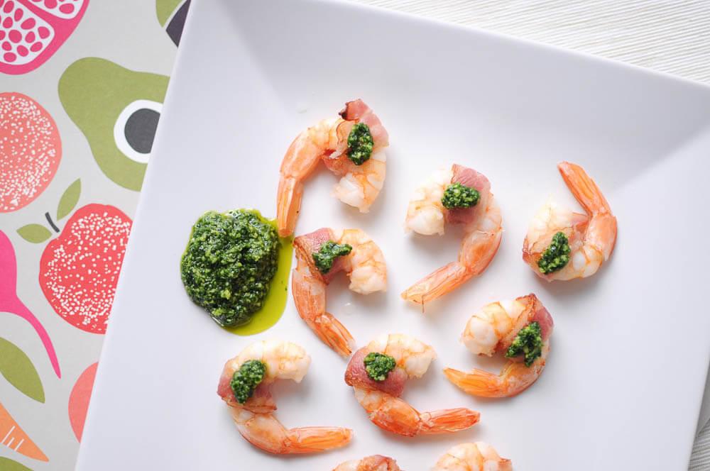 Bacon-Wrapped Shrimp with Pesto-3