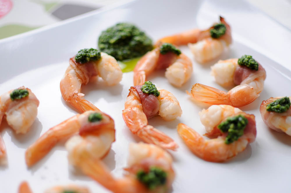 Bacon-Wrapped Shrimp with Pesto-6