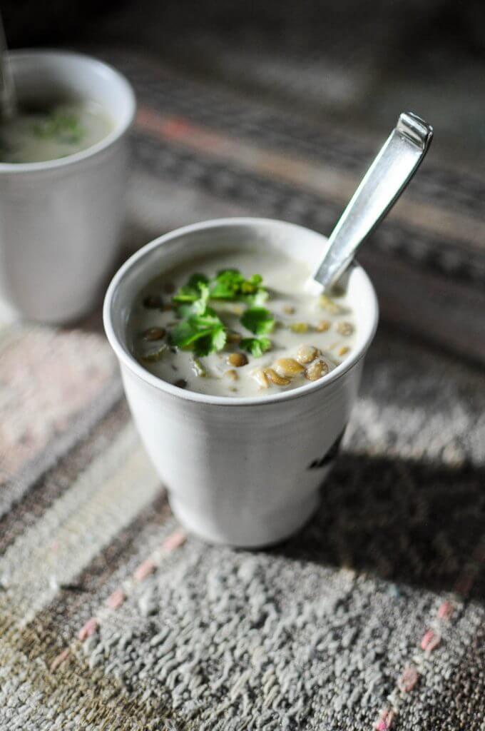 Green Lentil Curry Soup