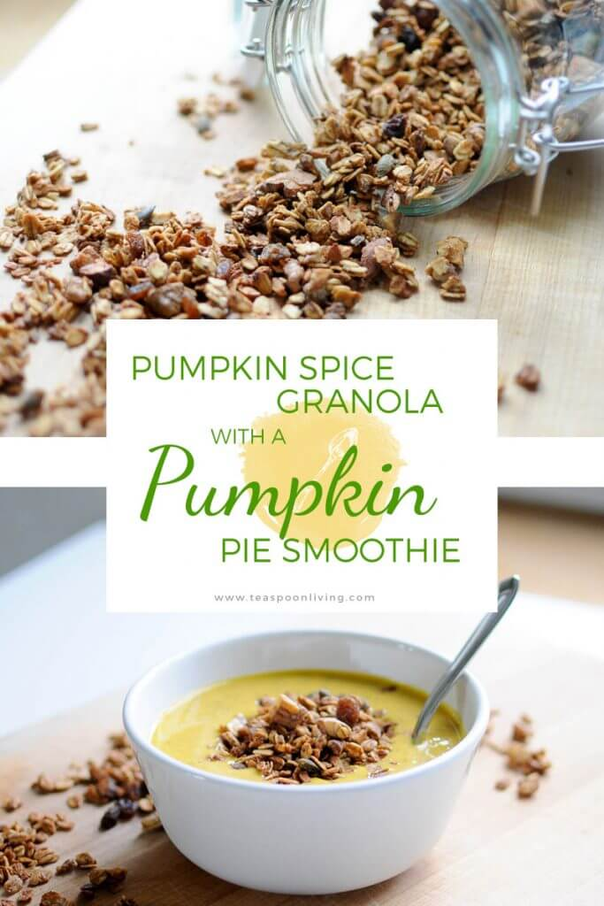 Naturally sweetened pumpkin spice granola atop a deliciously healthy pumpkin pie smoothie!