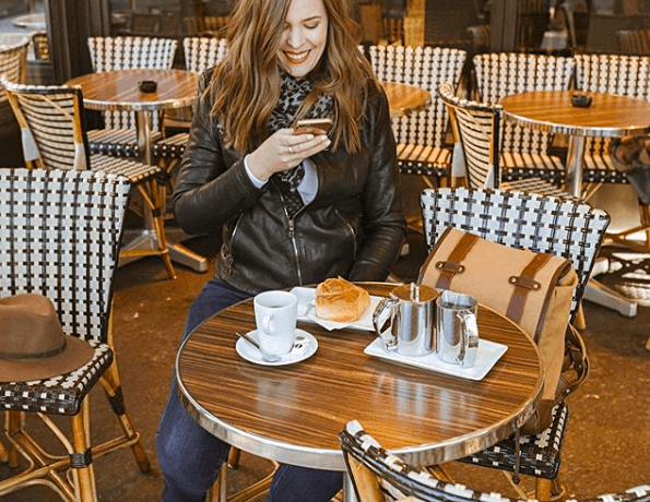 Is snacking bad? Woman taking a picture of her food while sitting at a cafe.